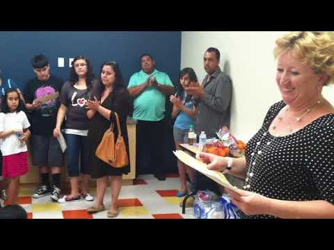 Colleen ODonnell of Andalucia Middle School Awards her Students
