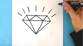 HOW TO DRAW A DIAMOND STEP BY STEP : EASY DRAWING TUTORIAL