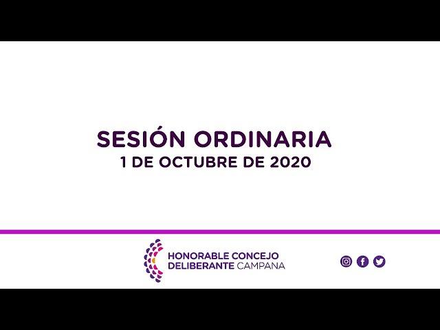 Sesión Ordinaria, 1 de Octubre de 2020.
