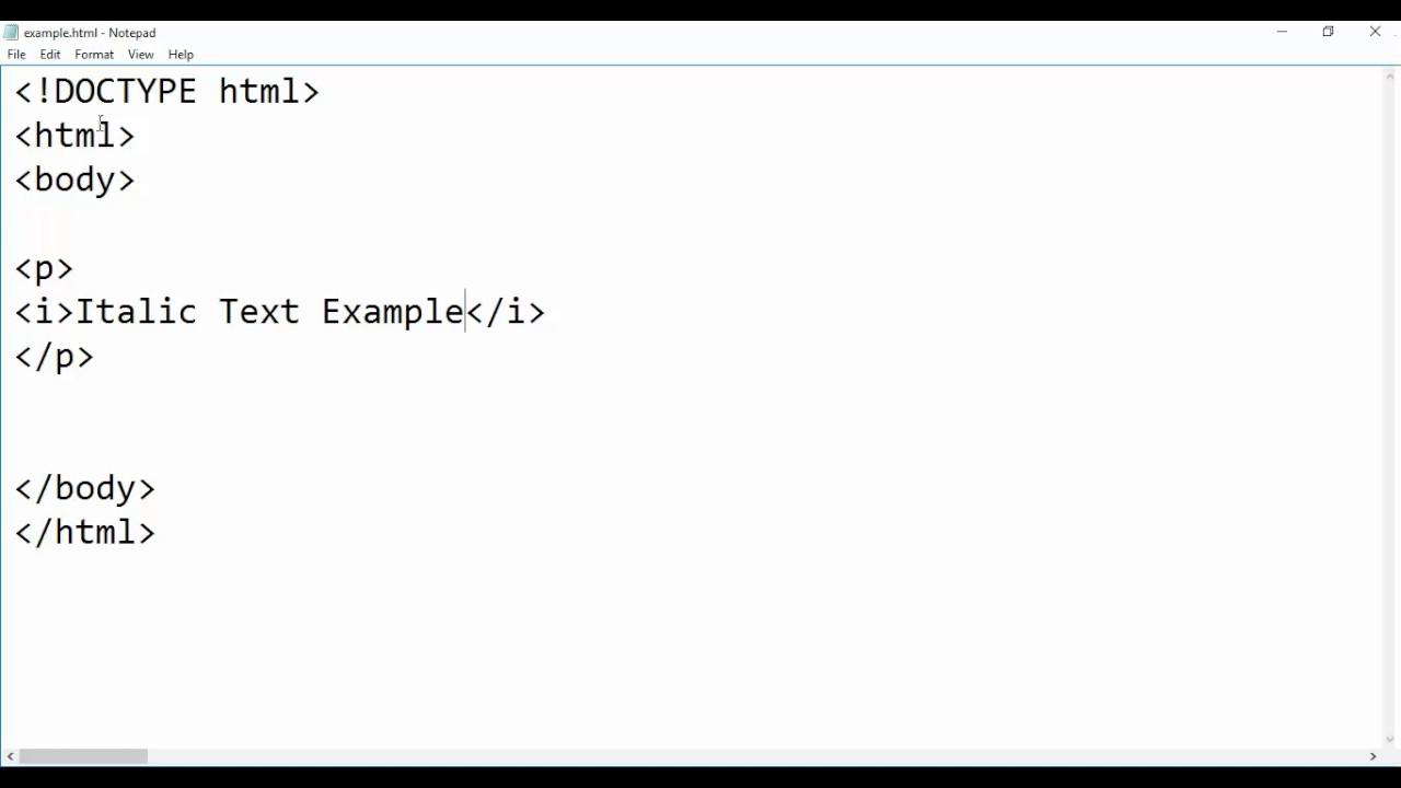 HTML - Italic Text Tag