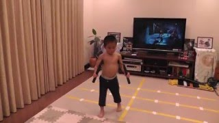 Ryusei (5year-old) acting Bruce Lee's Nunchaku scene