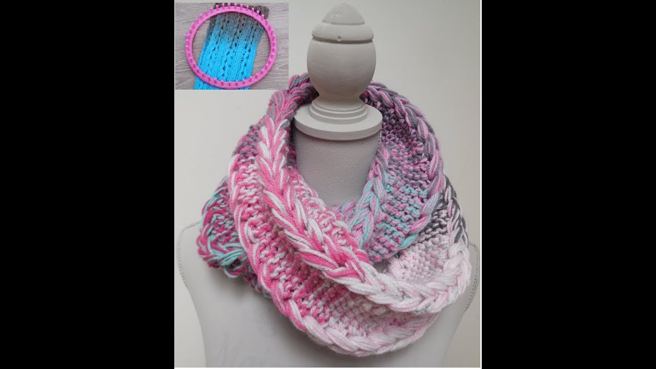 How to loomknit a Braid Cowl (english!) \'Never give up\' - YouTube