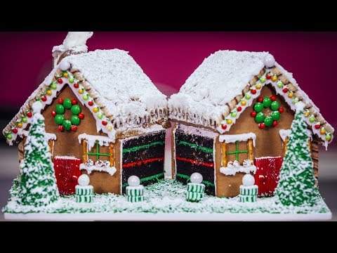Gingerbread House filled with CAKE | Ultimate Holiday Baking Ideas | How To Cake It Step By Step