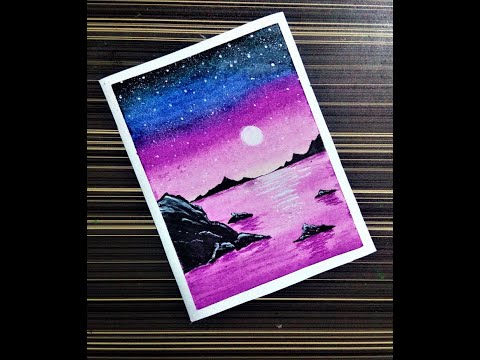 moonlight sky | oil pastel drawing | art | painting for beginners #shorts #youtubeshorts