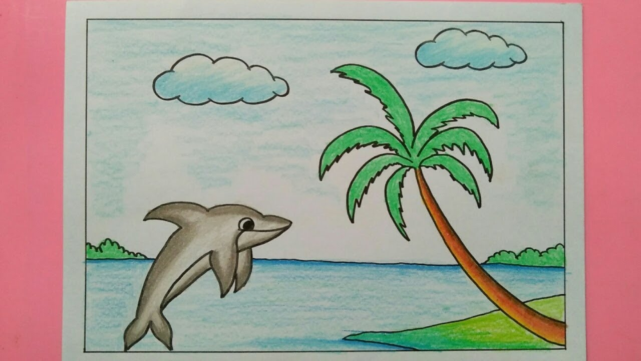 Cara Menggambar Pemandangan Pantai Dan Ikan Lumba Lumba Youtube