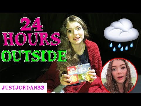 24 HOUR OUTSIDE OVERNIGHT CHALLENGE!!!  My Tent Got Flooded! / JustJordan33