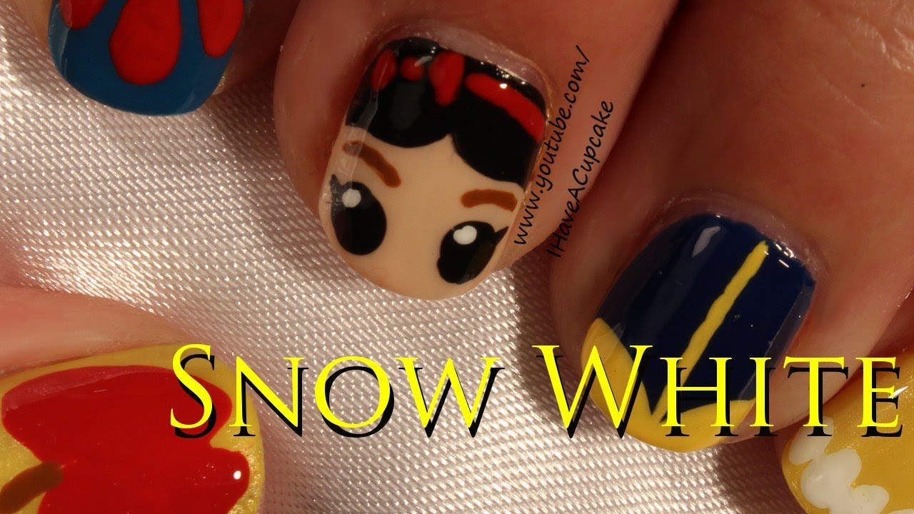 Snow White Inspired Nail Art Youtube