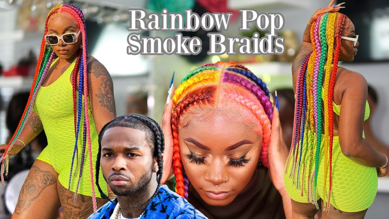 Trying RAINBOW Pop Smoke Braids on a 360 Full Lace Wig?? 👀 | Laurasia Andrea