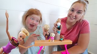 Barbie Sports Day  Adley and Coach Mom dream big in soccer, tumbling, and swimming pretend play!