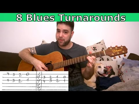8 Essential Blues Turnarounds - Guitar Lesson Tutorial w/ TAB