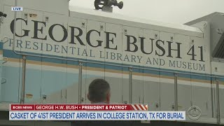 CBS News Special Report -- Casket Of 41st President Arrives At Bush Library For Burial