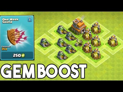 Gem Boost -  Clash Of Clans -  Boosting My Collectors With A 1 Week Shield!!