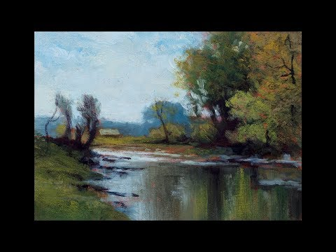 Study by M Francis McCarthy after Wooded River Landscape by John Francis Murphy