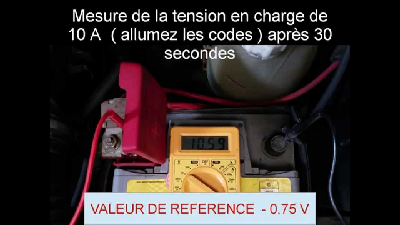 diagnostique de batterie automobile v rification de la charge de l 39 alternateur youtube. Black Bedroom Furniture Sets. Home Design Ideas