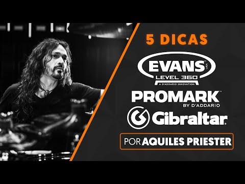 5 DICAS por AQUILES PRIESTER | Evans + Promark + LP + Gibraltar