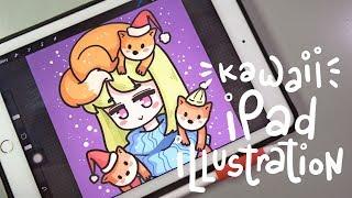 Kawaii Christmas Fox Girl | Ipad Pro Illustration with Apple Pencil
