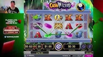 Cash Wizard slots with multiple BONUS LIVE [Online Gambling with Jersey Joe # 9]