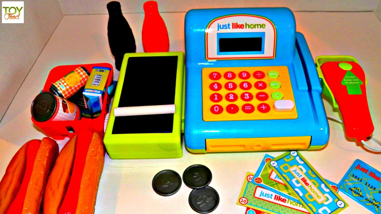 Just Like Home Toys : Toy cash register just like home playset with food