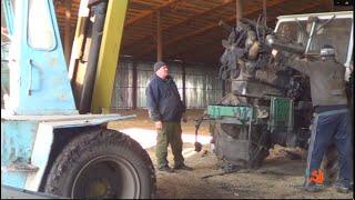 10-Д:Ремонт трактора Т-150К,демонтаж двигателя ЯМЗ-236,пуск другого Т-150К после зимы.