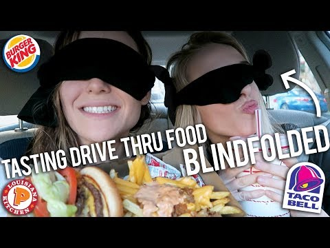 TASTING DRIVE THRU FOOD BLINDFOLDED