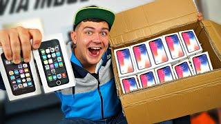 Купили на аукционе большую потерянную коробку наполненную айфонами