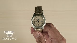 [What's Inside The Box?]  Seiko 5 SNK803K2 Automatic 21 Jewels Beige Military Nylon Strap