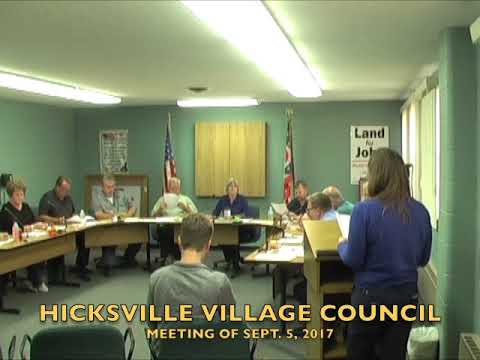 Hicksville Village Council Meeting 9-5-17