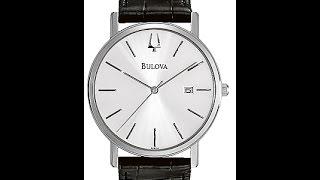 Bulova 96B104 Men's Silver Dial Black Strap Watch Review Video