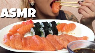 ASMR Salmon Sashimi with nigiri & Cucumber roll (NO TALKING) | Eating Show | EatWithJas91