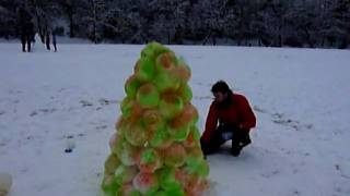 Snow Lantern built in Simmons Park, Okehampton, Devon, UK.