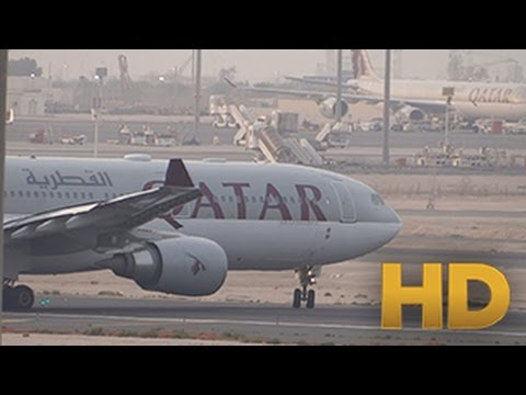 ᴴᴰ Qatar Airways Airbus A330-202 takeoff from Doha Airport ( Funny ending =D )