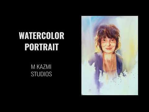 Easy Watercolor Portrait Painting tutorial step by step Urdu hindi _ M Kazmi Studios