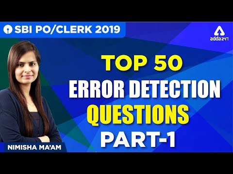 SBI PO/CLERK 2019 | Top 50 Error Detection Questions | Part 1 | English | Nimisha Ma'am | 12:00 PM