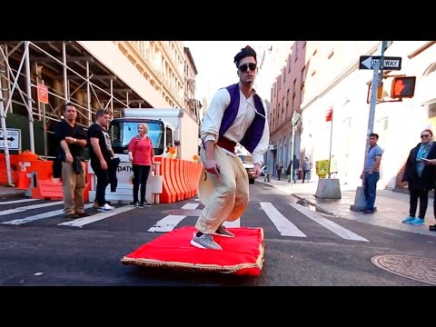 Alladdin Walks His Magic Carpet In The Streets Of NYC