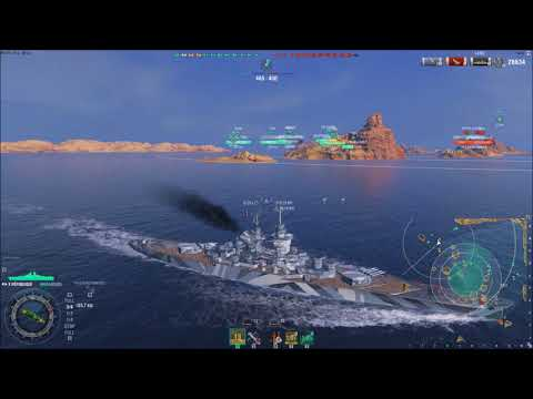 WoWs new French T10 BB Republique 79 hit 14 fire