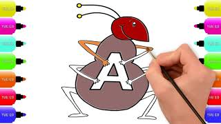 A For Ant Learning For Baby | Kids Coloring Pages