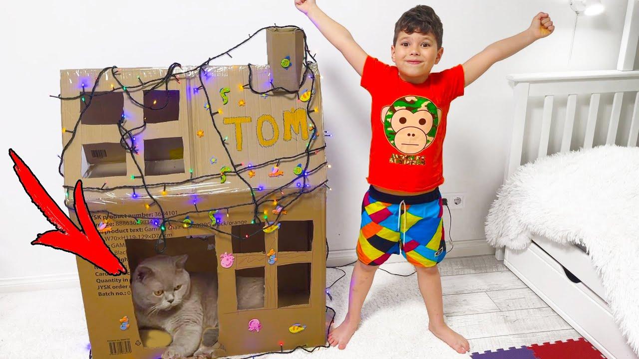 Егорка и Том !!! Картонный Домик для Кота !!!