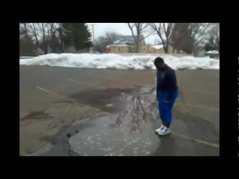 Dangers Of Puddle Jumping |1$ Bet|  Man jumps in puddle and ends up in massive hole of water