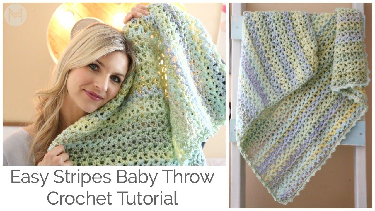 Crochet Tutorial: Easy Stripes Baby Throw Blanket - YouTube