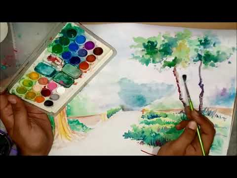 Watercolour landscape painting for beginners tutorials