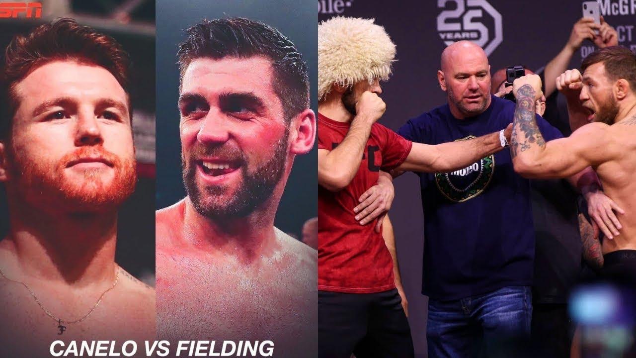 Канело–Филдинг бой за титул WBA в 168 фунтах, Конор–Хабиб и Волков–Льюис устроили потасовку