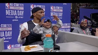 Russell Westbrook Brings Son To Podium, Talks Joining James Harden | NBA All-Star 2020 Media Day
