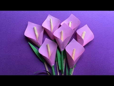 How to make a beautiful calla Lily paper flower/origami lily flower step by step/DIY Lily flower