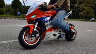 New pocket bike four stroke engine 50cc first test