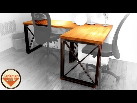 Industrial Steel Frame & Butcherblock Wood Desk