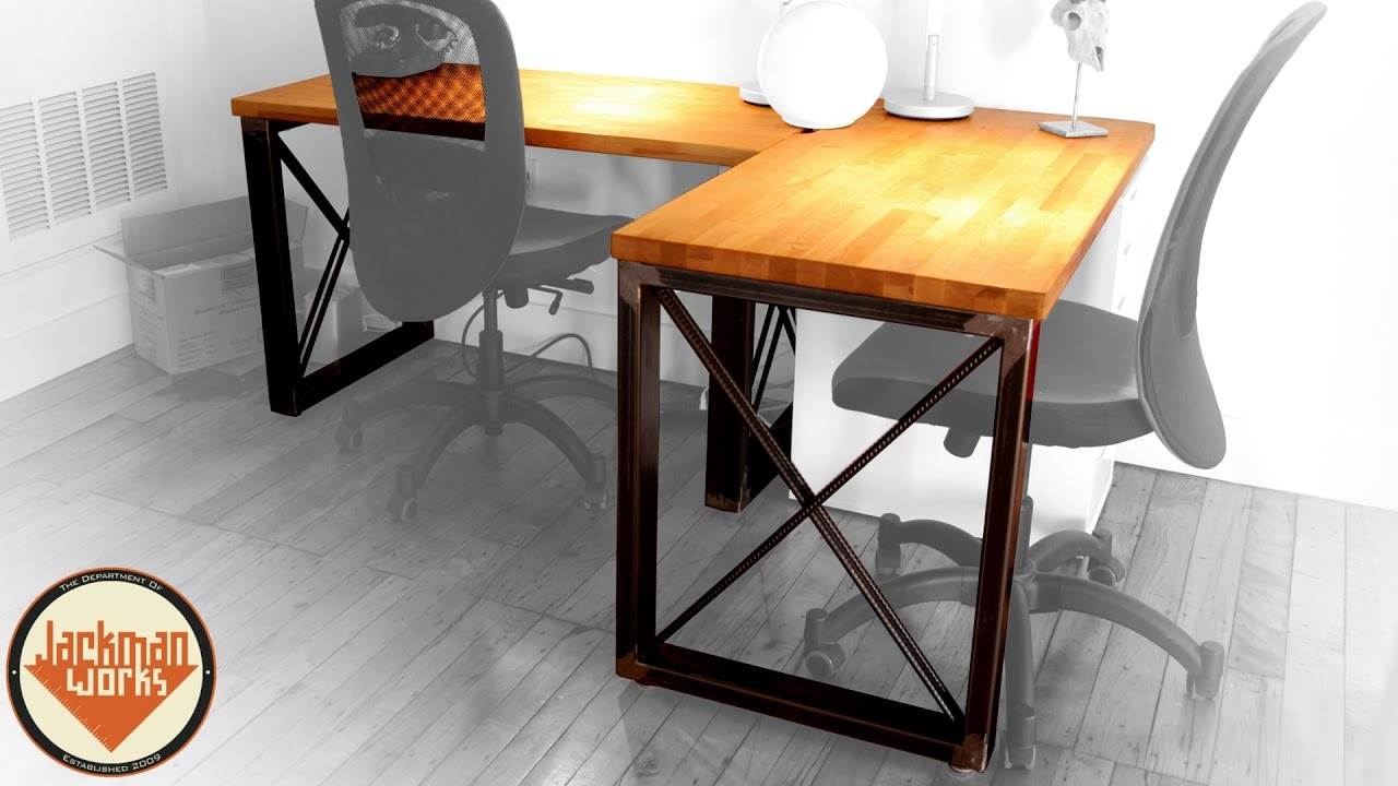 metal frame desk computer industrial steel frame butcherblock wood desk youtube