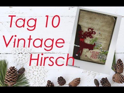 10 tage bis weihnachten tag10   vintage weihnachtskarte mit produkten von stampin´up - youtube