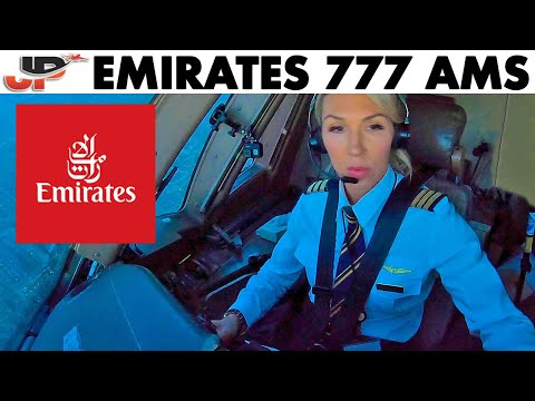 Piloting EMIRATES Boeing 777 into Amsterdam | Cockpit Views