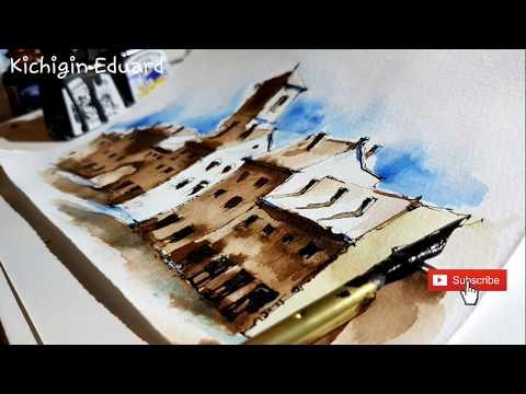 Как рисовать архитектуру.  Как нарисовать несколько домов. Архитектурный скетчбук.. Эдуард Кичигин