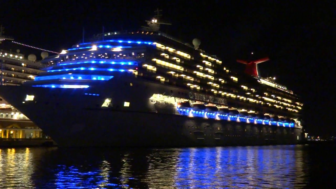 Carnival Splendor Amp Carnival Valor In Puerto Rico At Night Version 2 Youtube